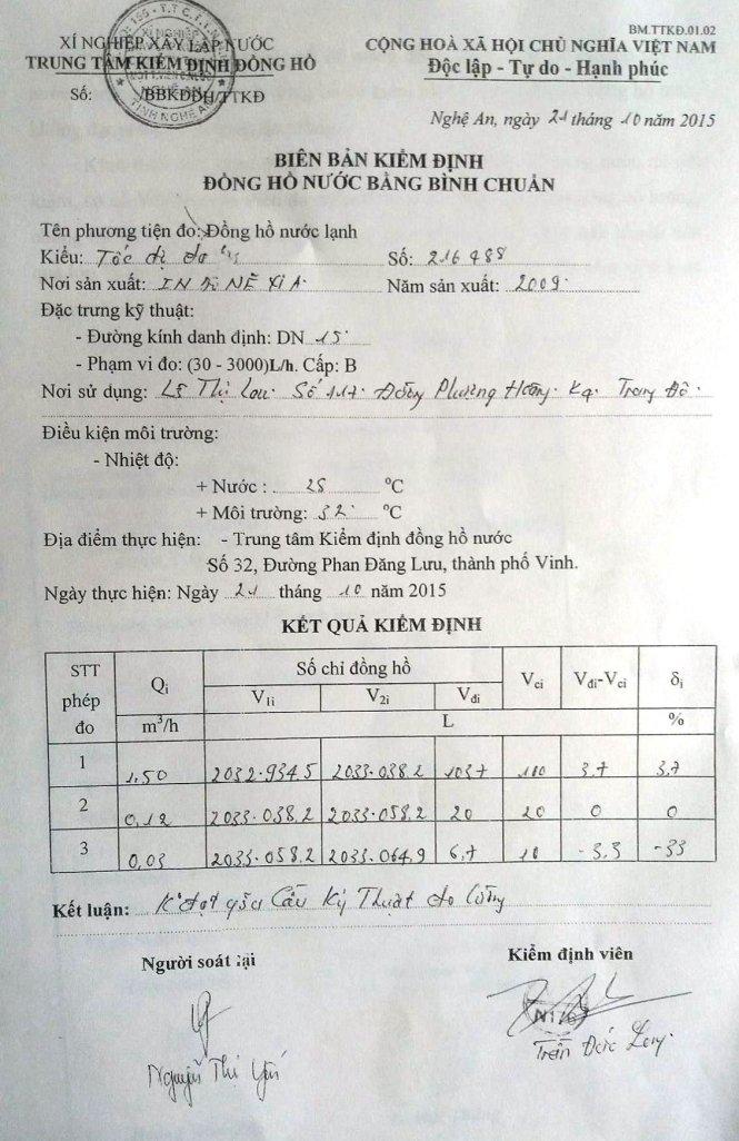 kết quả đo lương thì đồng hồ nước nhà ông thường đạt chuân đo lường
